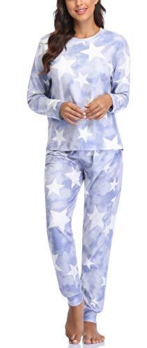 EVELIFE Pijama Mujer Tie Dye Conjunto Top y Pantalones 2 Piezas Mangas Largas Ropa Dormir Mujer Algodon (Púrpura XXL)
