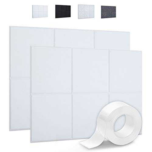 """Focusound 12 Packs of Acoustic Panels, Sound Proof Padding Wall Panels with Double Side Adhesive Tape, Beveled Edge, 12"""" x 12"""" x 0.4"""", White"""