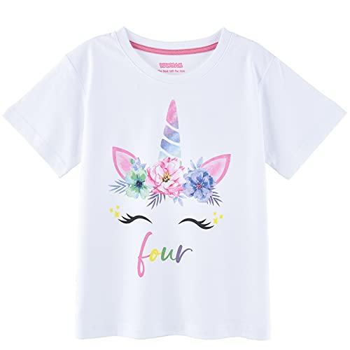 WAWSAM T-shirt licorne 4ème anniversaire – T-shirt licorne 4 ans pour filles et enfants, blanc, 110 cm