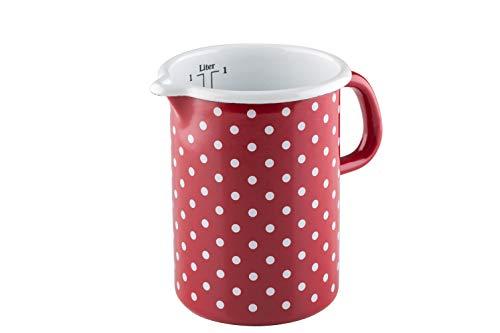 Riess, 0338-077, Küchenmaß 10 1,00 L, COUNTRY - PÜNKTCHEN ROT, Durchmessser 10 cm, Höhe 14,8 cm, Inhalt 1 Liter, Emaille, rot/weiß