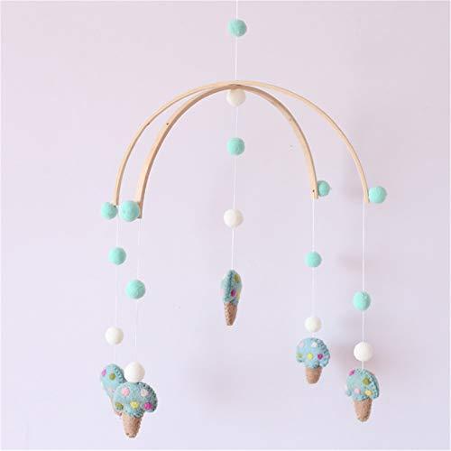 Nicole Knupfer Baby Mobile 100 % fieltro cama Bell Mobile Crib colgante creativo de madera, carillón de viento para habitación de los niños, accesorios de fotografía (verde liso)