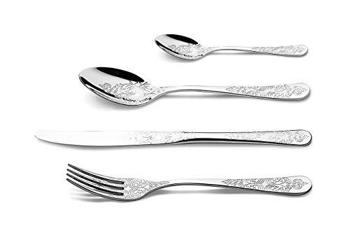 Set posate incise 24 pezzi acciaio inox 18/10 altissima qualità by Cristema
