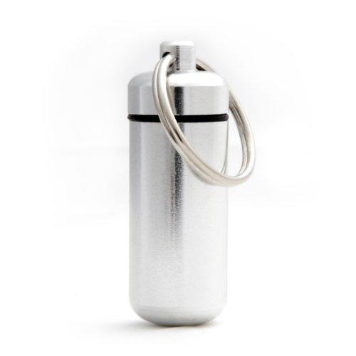 Ganzoo Pillen-Dose, Pillen-Box, Aluminium-Kapsel, Schlüssel-Anhänger Mini, wasserdicht, Farbe: Silber, Höhe: 45mm