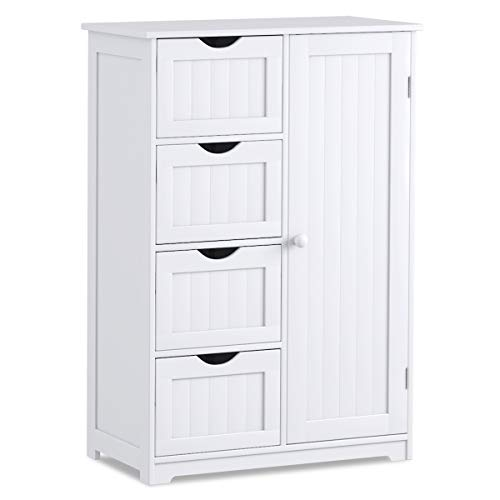 Giantex Bathroom Floor Cabinet Wooden with 1 Door & 4 Drawer, Free Standing...