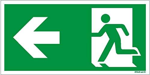 Hochwertiges Notausgangsschild stark langnachleuchtend + selbstklebend – Folie EXTRA-N - Pfeil LINKS - Notausgang Schild grün – Rettungszeichen/Rettungsschild/DIN 67510 / ISO 7010 (300 x 150 mm)