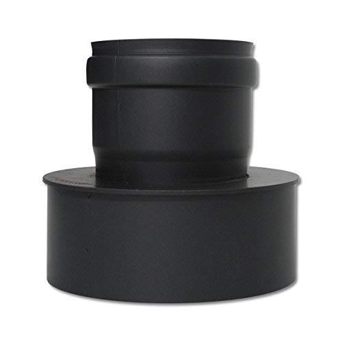 AdoroSol Vertriebs GmbH Erweiterung von 80 weit auf 150 schmal Pellet in Schwarz oder Grau Ø 80 mm Ofenrohr für Pelletöfen (Grau)