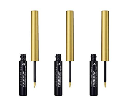 Manhattan Wonder'proof Eyeliner Limited Edition mit hochpigmentierter Farbe für 24h Halt, wisch- und wasserfest, Farbe 003 shiny gold