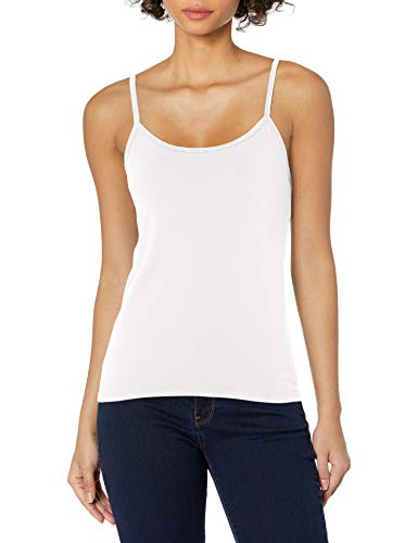 Hanes Women's Stretch Cotton Cami with Built-in Shelf Bra, White, Large