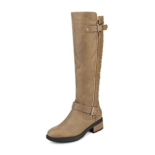 DREAM PAIRS Women's Utah Khaki Low Stacked Heel Knee High Riding Boots Size 9.5 M US