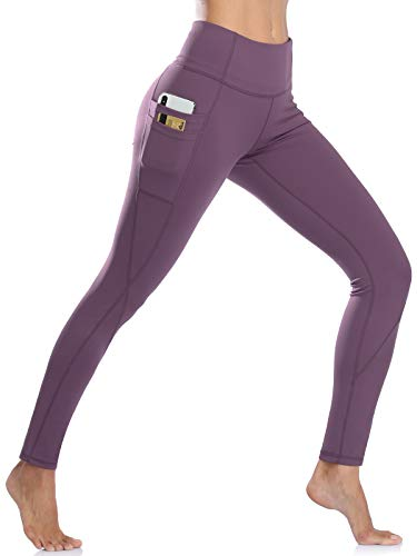 NEWMEEN Exercise Leggings for Women,High-Waisted Running Workout Pants Girls Petite Slim Fitness Gym Tights Ladies Smooth Seam Muffin Top Control Athletic Sports Joggers Dark Violet S
