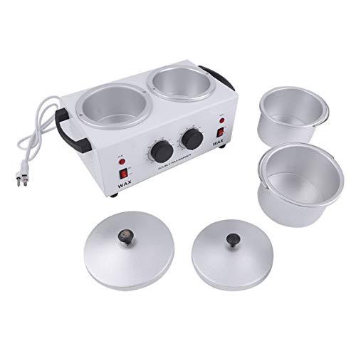 Outil électrique d'épilation de poêle à double pot de cire machine à mains de cire outil de beauté de salon de thérapie de cire de paraffine de beauté blanc WEIWEITOE