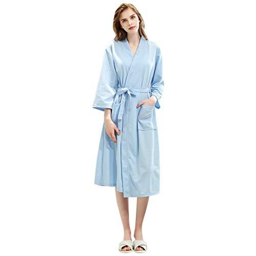 Susenstone Peignoir Femme Long Flanelle Peignoir De Bain Homme Eponge Pas Cher Tricot Robe De Chambre Chaud Epais pour Hiver (L(EU38), Femme-Bleu Ciel)