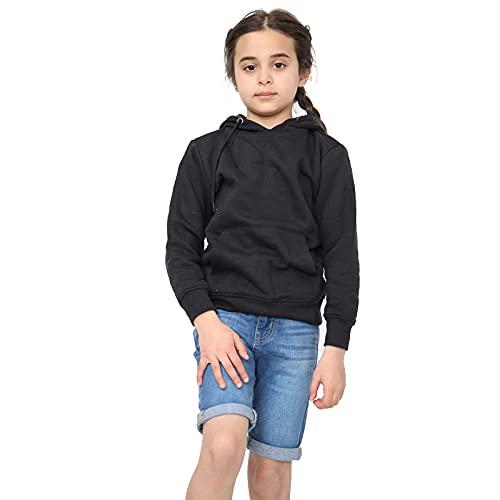 Kids Girls Boys Hoodie Sweatshirt Tops Casual Plain Pullover Fleece Hooded Jumper Unisex Sports and School Wear Age 7 8 9 10 11 12 13 Years (Black, 6_years)