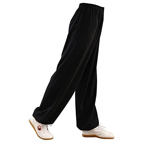 ZPAGBFWJ Mujer Pantalones de Tai Chi Cintura elástica Mujer y Hombre Pantalones de Tai Chi Algodón más Seda Ropa de Wu Shu Kung Fu Suave Cómodo Yoga Transpirable Artes Marciales Meditación,001,L