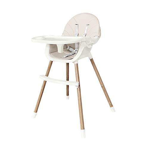 NSWDC Silla Alta para el bebé, Silla Ajustable para el bebé/fácil de Montar Silla de Comedor para niños y niñas/cinturón de Seguridad de Cinco Puntos/Plato de Comedor, Pedal Ajustable,Blanco