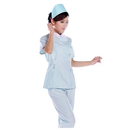 CX ECO NGS-Set Medizinische Uniform für Frauen Rundhalsausschnitt Ärzte Berufsbekleidung Antifalten-Berufsbekleidung 3-Pocket-Top und Hosen Berufsbekleidung,L