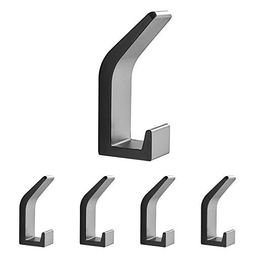 AYOTEE Wall Hooks for Hanging Coats, 5 Packs Nail-Free and Drill-Free Double-Hook Fall-Off Preventing Coat Hooks, Waterproof Black Door Hooks and Bathroom Hooks