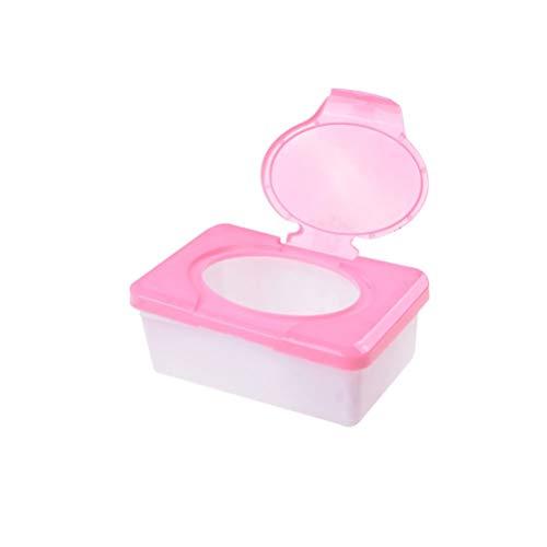 MISDD Caja de pañuelos 1 Piezas de plástico seco Wet Wipes Caja del Tejido de Prensa Pop-up Diseño Accesorios for el hogar del sostenedor del Tejido (Color : Pink)