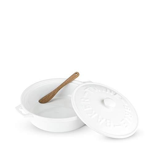 Twine Rustic Farmhouse Ceramic Brie Baker & Acacia Wood Spreader, White