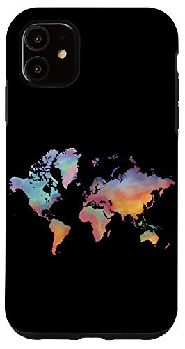 iPhone 11 World Map Watercolor Black Phone Cover Case