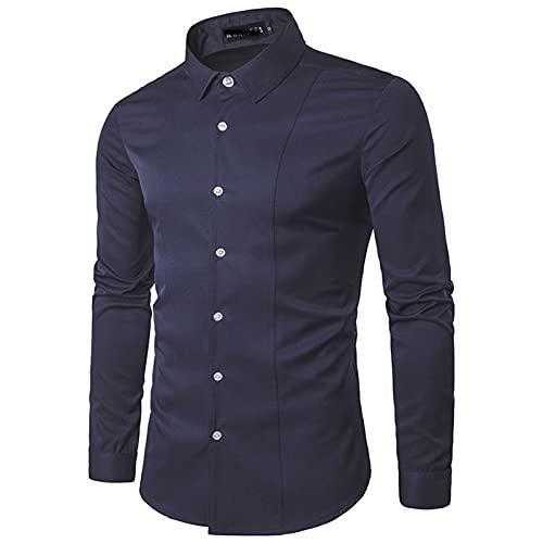 SSBZYES Camisas para Hombres Camisas de Manga Larga para Hombres Camisas de Gran tamaño Camisas de Color sólido de Manga Larga Tops Estampados para Hombres Camisas de Gran tamaño