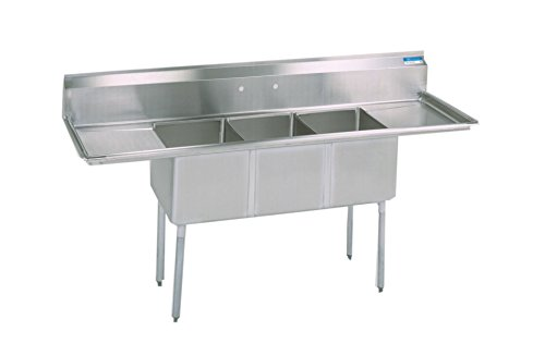 Buy Bargain BK Resources Stainless Steel 3 Compartment Sink with Left and Right Hand Drainboards, 84...