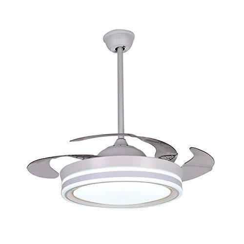 Lixada Plafondventilator met LED-licht en afstandsbediening, geborsteld chroom, 42 inch Invisible Blade plafondventilator [energieklasse A]