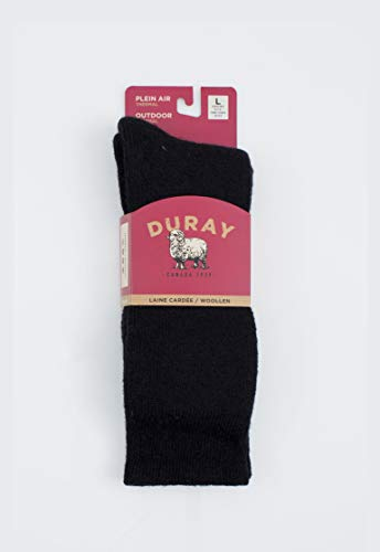 Duray Men's Black Thermal Wool Socks Style 1264 - One Pair Size 10- 13 by Cleverbrand