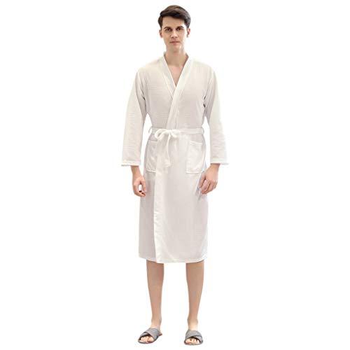 SatinGold Winter Kniel?nge Solide Bademantel Morgenmantel Hausmantel Mantel Kimono Klassische Herbst Robe Nightwear Morgenmantel mit Tasche zum Frauen M?nner Paar (XL, Wei? (M?nner))