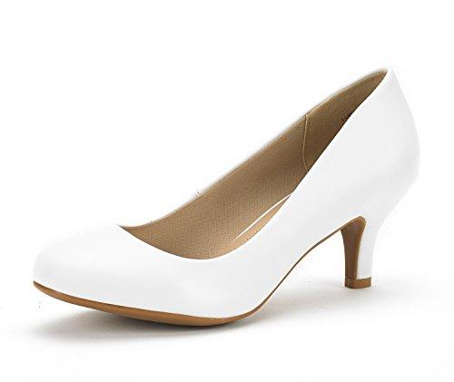 DREAM PAIRS Women's Luvly White Pu Bridal Wedding Low Heel Pump Shoes - 10 M US