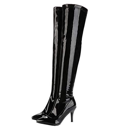 MISSUIT Damen Overknee Stiefel High Heels Stiletto Boots mit Reißverschluss Langschaftstiefel Lack Spitz 9cm Absatz Schuhe(Schwarz,39)