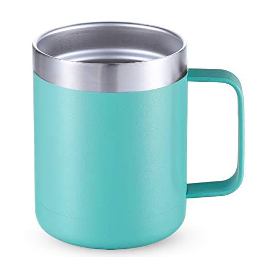 DELERKE Vaso térmico de doble pared | Termo de café para llevar de acero inoxidable 18/8 con tapa y asa, taza de café para llevar con asa grande de 400 ml