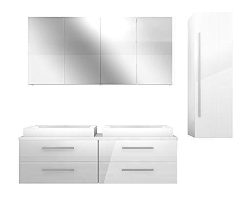 AcquaVapore Badmöbel Set City 201 V3 Hochglanz weiß, Badezimmermöbel, Waschtisch 160 cm JA mit 2x 5W LED / 1x Energiebox