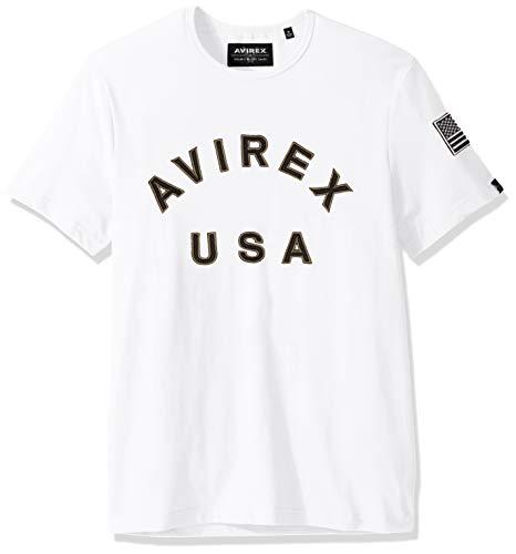 Avirex Men's Iconic US Crew Neck Tee, White, M