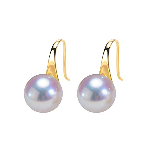 YUN Clock 18K Yellow Gold Pearl Earrings 7.5-8MM Pearls 18K Gold Fine Jewellery Christmas Birthday, A~7.5~8MM