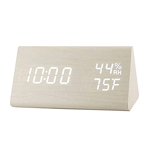 Reloj Despertador de Humedad y Temperatura Triángulo Digital Habitación Infantil Reloj de Madera Mudo Luminoso LED Regalo electrónico - Blanco