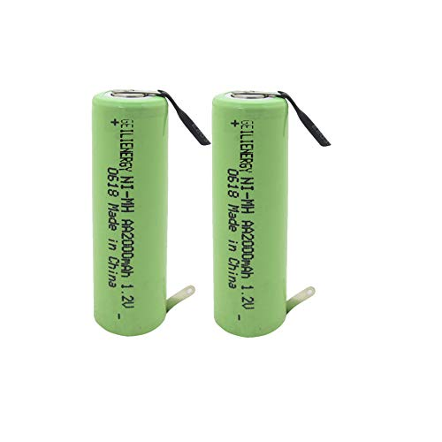 GEILIENERGY 2000mAh NiMH Rechargeable AA Battery Flat Top with Tabs for Shavers, Trimmers, Razors (Pack Of 2)