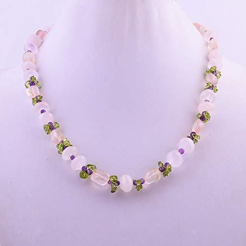 "Gemstone Hub Natural Rose Quartz Amethyst Peridot Gemstone Smooth Beads Necklace 18"" BN-252, Beads Jewelry for Gift, Beaded Necklace"