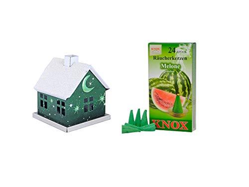 KNOX - Romántica casa de incienso de metal – verde con melón – luna y estrellas – para incienso de tamaño M
