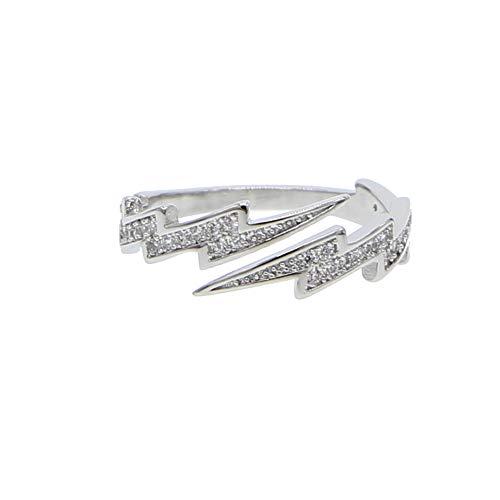 miaoyu Anillo ajustable de destello abierto para mujer, joyería barata de precio de fábrica, anillo de circonita para mujer (color metálico: chapado en platino, tamaño del anillo: ajustable)