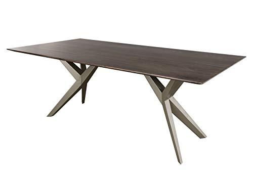 Table à manger 200x100cm - Bois d'acacia laqué (Taupe/Gris mat) - SWISS EDGE #33