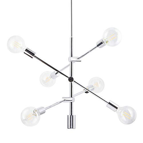 Marabella LED Sputnik Chandelier Light Fixture, Chrome, Linea di Liara LL-P235-PC