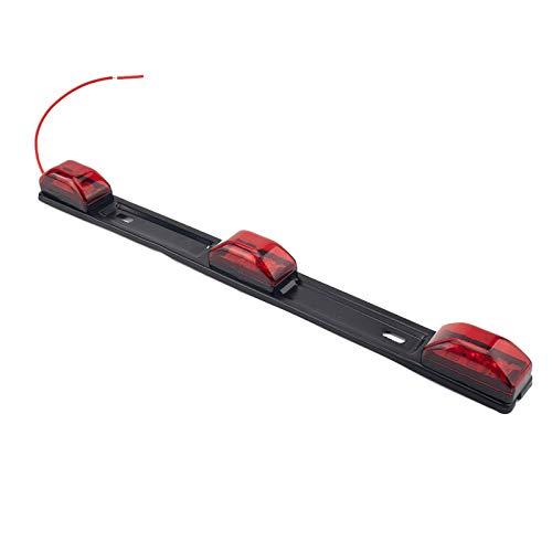 Blesiya Luz roja del marcador de la barra de identificación 3 luces 9 tiras LED Luz de identificación remolque camión barco lámpara w/Base negra, acero
