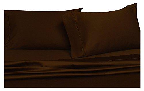 Royal 450 Thread Count Sheet Set, 100% Cotton, Sateen, Deep Pocket, (Full Chocolate)