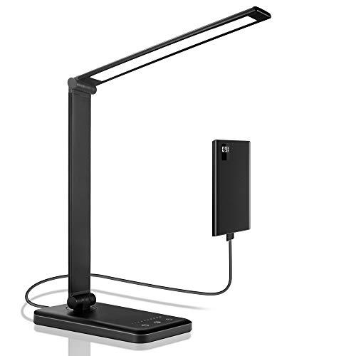 PENDEI LED Schreibtischlampe, Tischleuchte mit USB-Ladeanschluss, 5 Farbbeleuchtungsmodi, 5 Helligkeitsstufen, Touch Steuerung, Auto Timer, Dimmbare Augenfreundliche Tischlampe zum Lesen Arbeiten