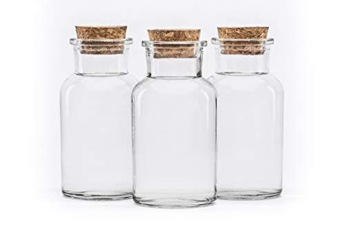 20 Stück 250 ml Glasbehälter Glasflasche mit Korken Verschluss rund 0,25 liter l leerer Vorratsdosen Vorratsgläser, Gewürzgläser Flaschen Gewürzdosen Bonbongläser Einmachglas Korkgläser Korkflaschen Korkdosen Eingemachtes mit Kork-Verschluss von slkfactory