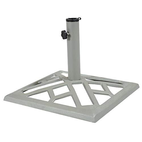 Sunnydaze - Paragüero Cuadrado de Hierro Fundido de 17 Pulgadas para Exteriores con diseño geométrico Rectangular y Acabado Gris - Soporte Resistente para sombrilla de Patio Trasero