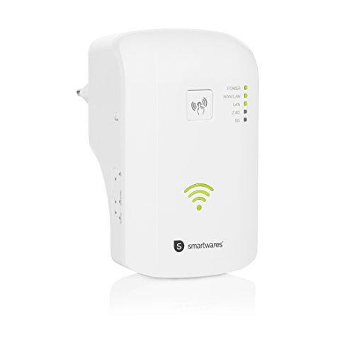 Smartwares draadloze repeater CR3, tot 1.200 Mbit/s, dual band (2,4/5 GHz), 2 x LAN-poort