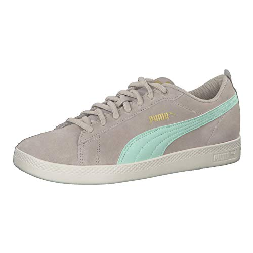 Puma Damen Smash WNS v2 SD Sneaker, Grau (Silver Cloud-Mist Green Team Gold-Whisper White), 38 EU
