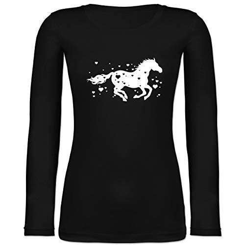 Pferde - Pferd mit Herzen - M - Schwarz - Damen Langarm Pferd - BCTW071 - Langarmshirt Damen